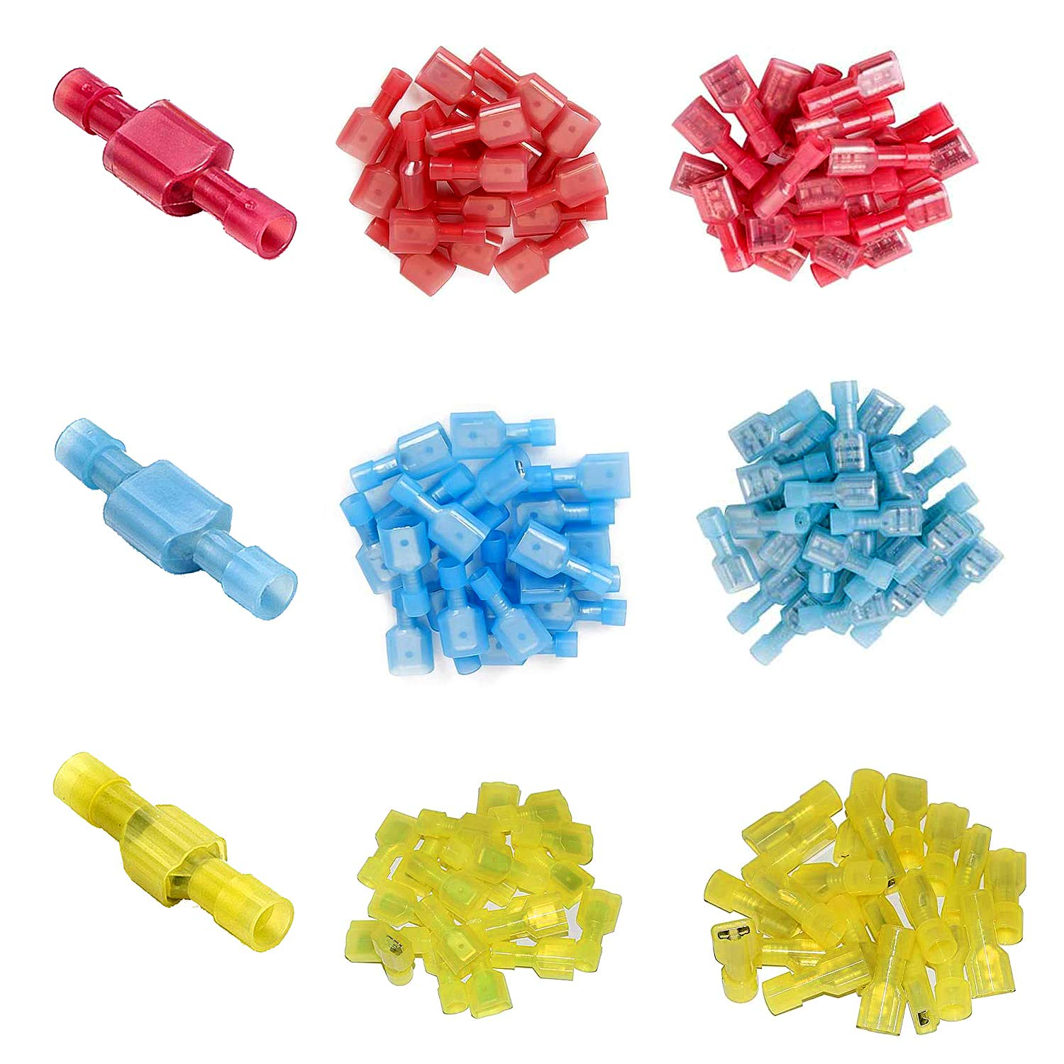 120 Pcs Male Female Wire Connectors - MuHize Nylon Fully Insulated Spade Connector Assortment Quick Disconnect Wire Crimp Terminal Kit