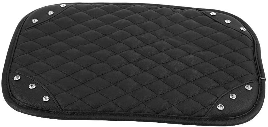 Car Armrest Pad, 1pcs Universal PU Leather Armrest Box Rail Pad, Bling Diamond, Black