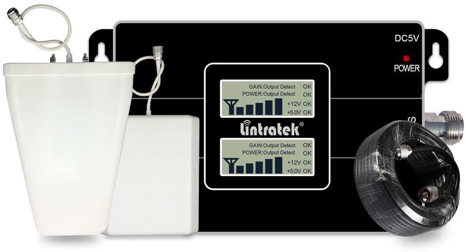 Lintratek 3G 4G Dual Band Cell Phone Signal Booster Kit CDMA 850MHz AWS 1700/2100MHz Cellular Mobile Phone Signal Repeater Amplifier Set Verizon Sprint AT&T (Band 4 + Band 5)