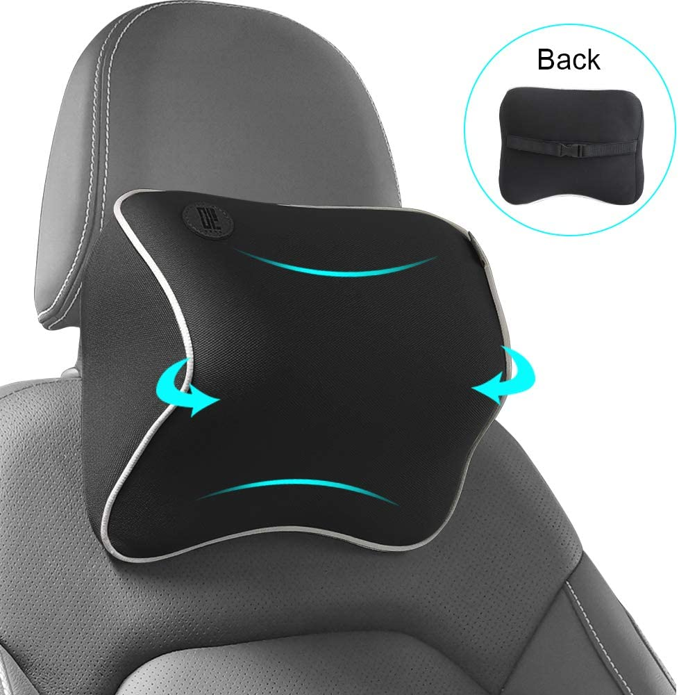 QBUC Car Seat Neck Pillow, Headrest Cushion for Neck Pain Relief &Cervical Support, Memory Foam and Ergonomic Design(Black)