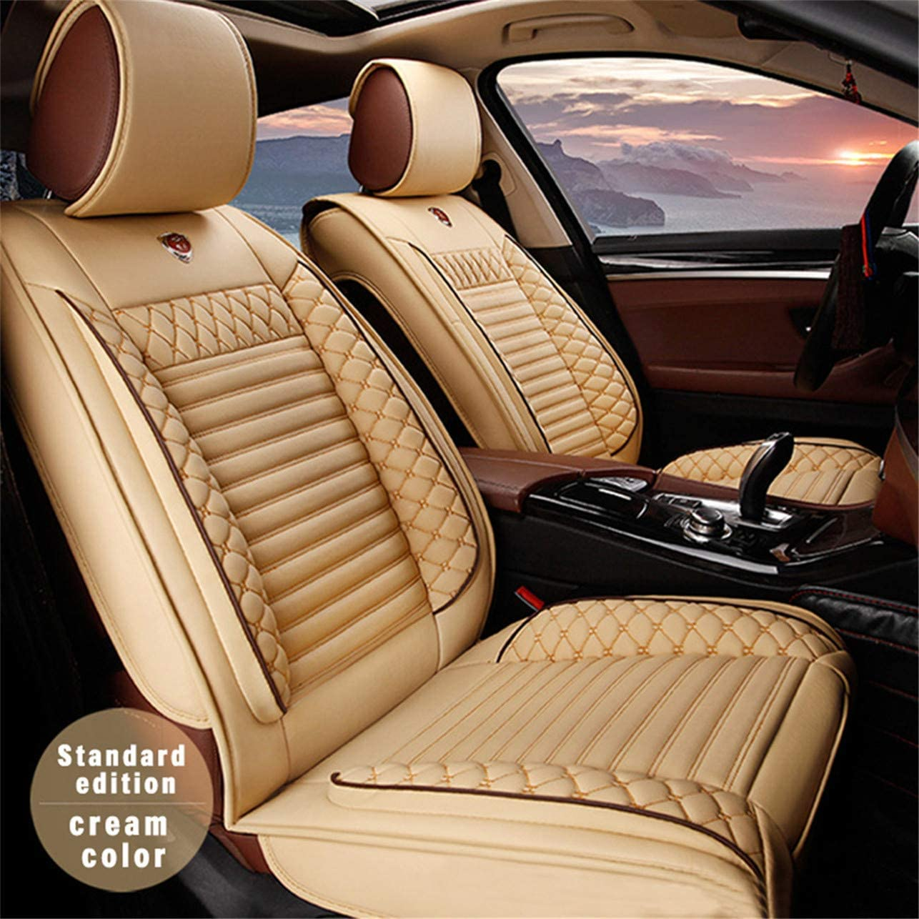 All Weather Custom Fit Seat Covers for Lincoln MKC MKZ MKX 5-Seat Full Protection Waterproof Car Seat Covers Ultra Comfort Beige Full Set