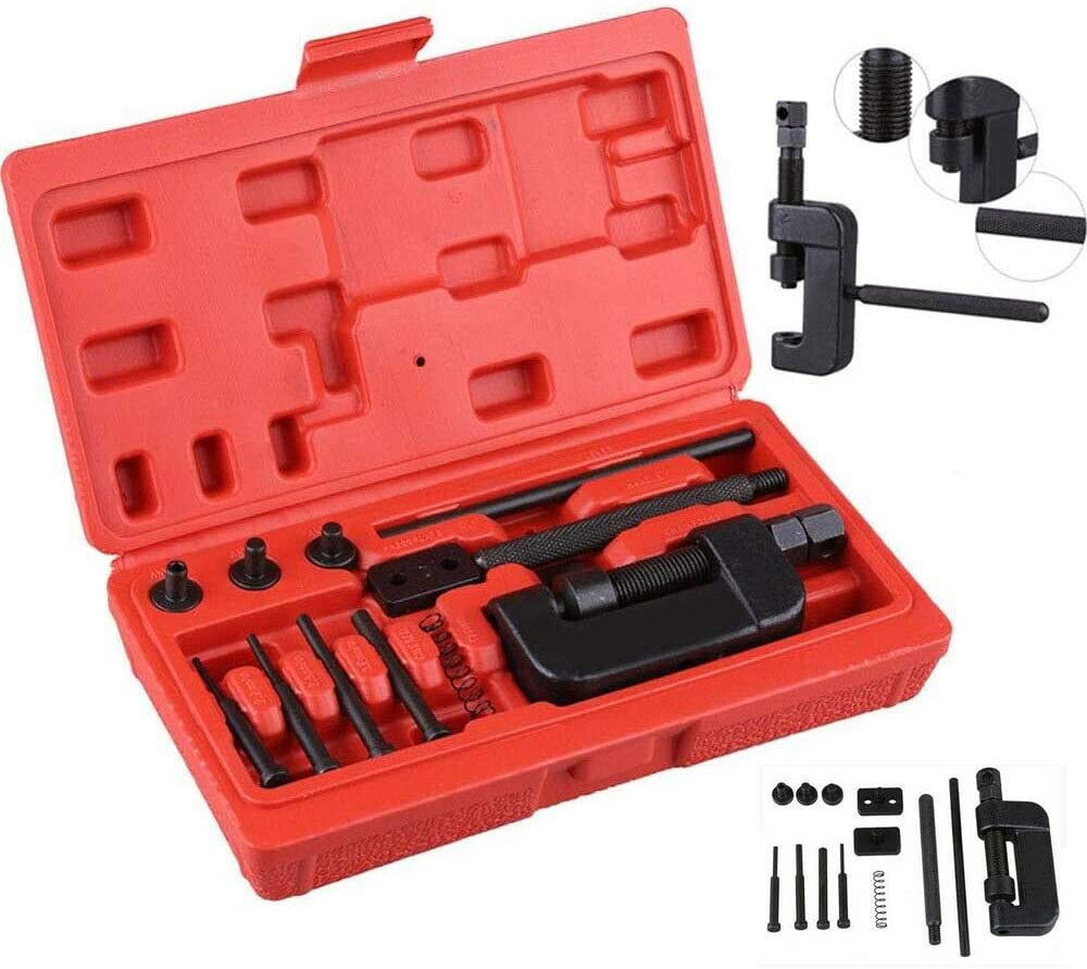 SOFEDY Chain Breaker Motorcycle Tool Kit 13-Piece Set with Red Carrying Case Motorcycle Bike Chain Breaker Set Cutter Rivet Tool Kits 520/525/530/630 Pitch Sturdy Design