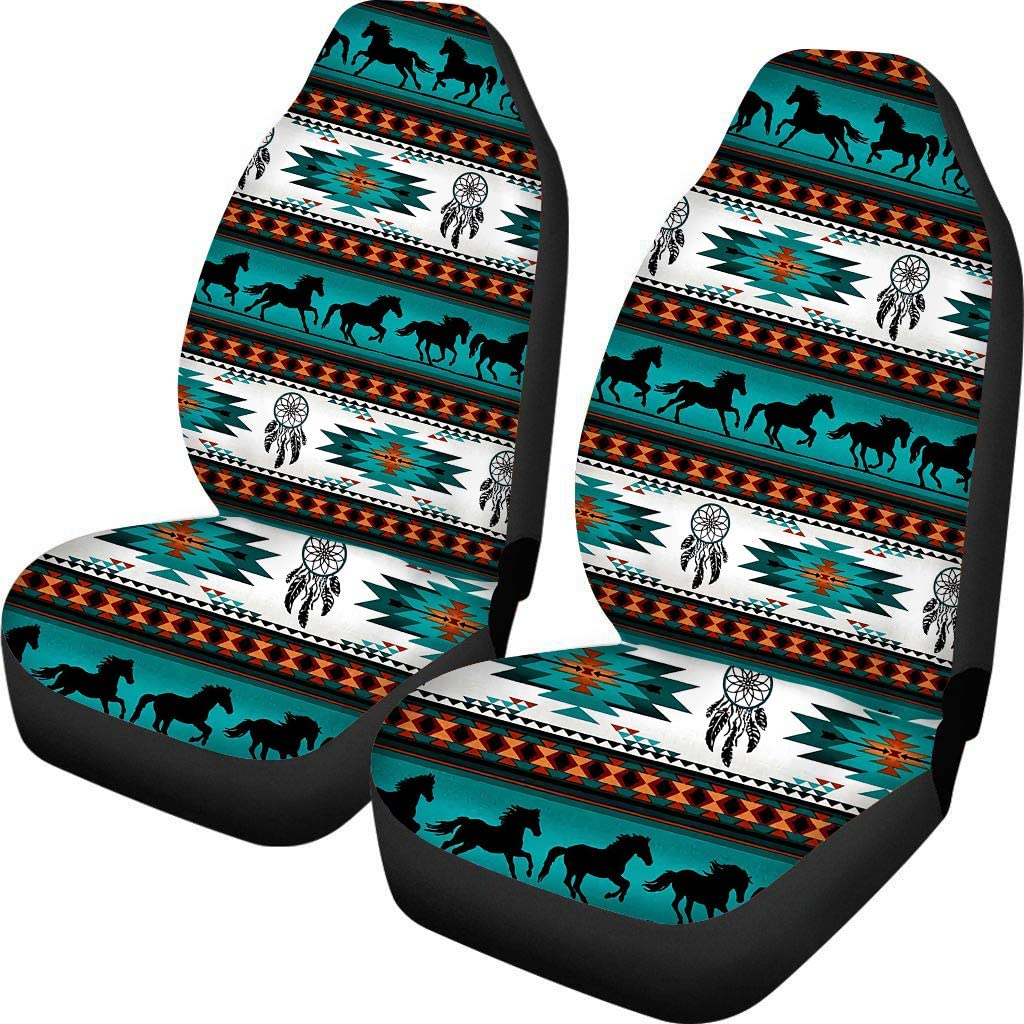 UNICEU Southwestern Aztec Tribal Horses Car Seat Covers Front Seats Only 2 PCS,Durable Stretch Polyester Bucket Seat Protectors
