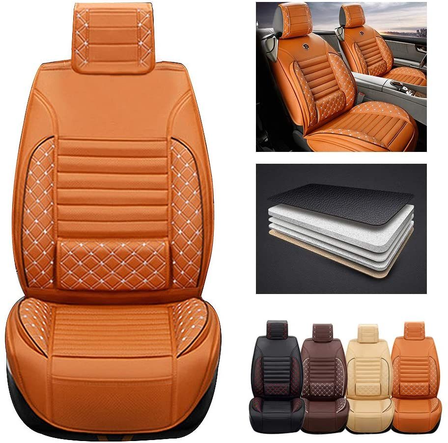 ytbmhhuoupx for Hyundai Equus 5-Seats Car Seat Covers PU Leather Waterproof Seats Cushion fit All Season - Front Row Standard Edition Orange