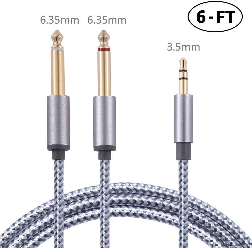 Bynccea 3.5mm to Dual 6.35mm Male Audio Mono Y-Cable Splitter [6FT],Gold Plated 1/8 TRS to 1/4 TS Nylon Braided Cord Compatible with Amplifier,Mixer,Guitar,Volcas and Audio Recorder