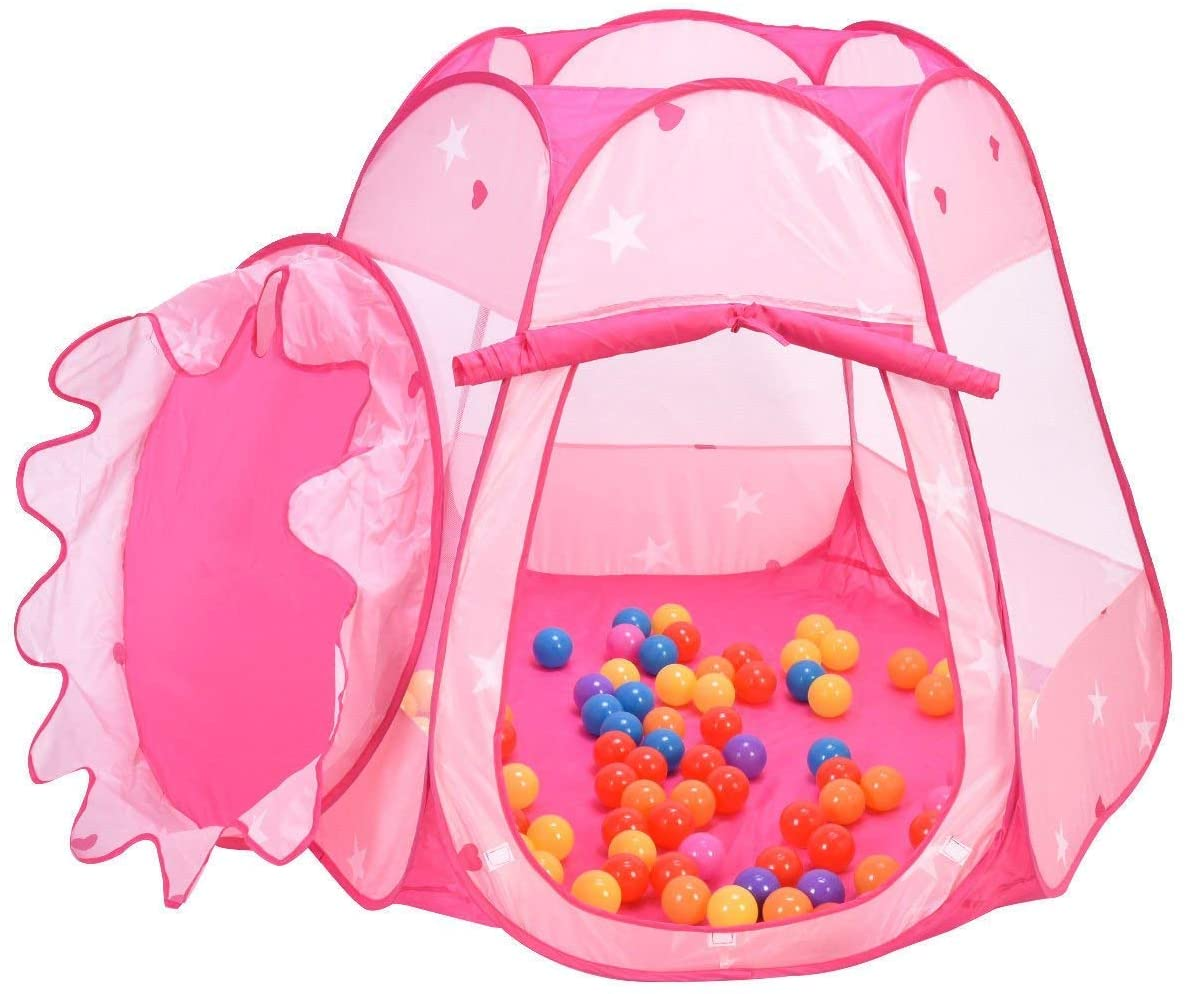 HAPPYGRILL Princess Play Tent, Foldable Six-Sided Tent, Indoor & Outdoor Playhouse for Toddlers with Zipper Storage Bag & 100 Ocean Balls (Rose)