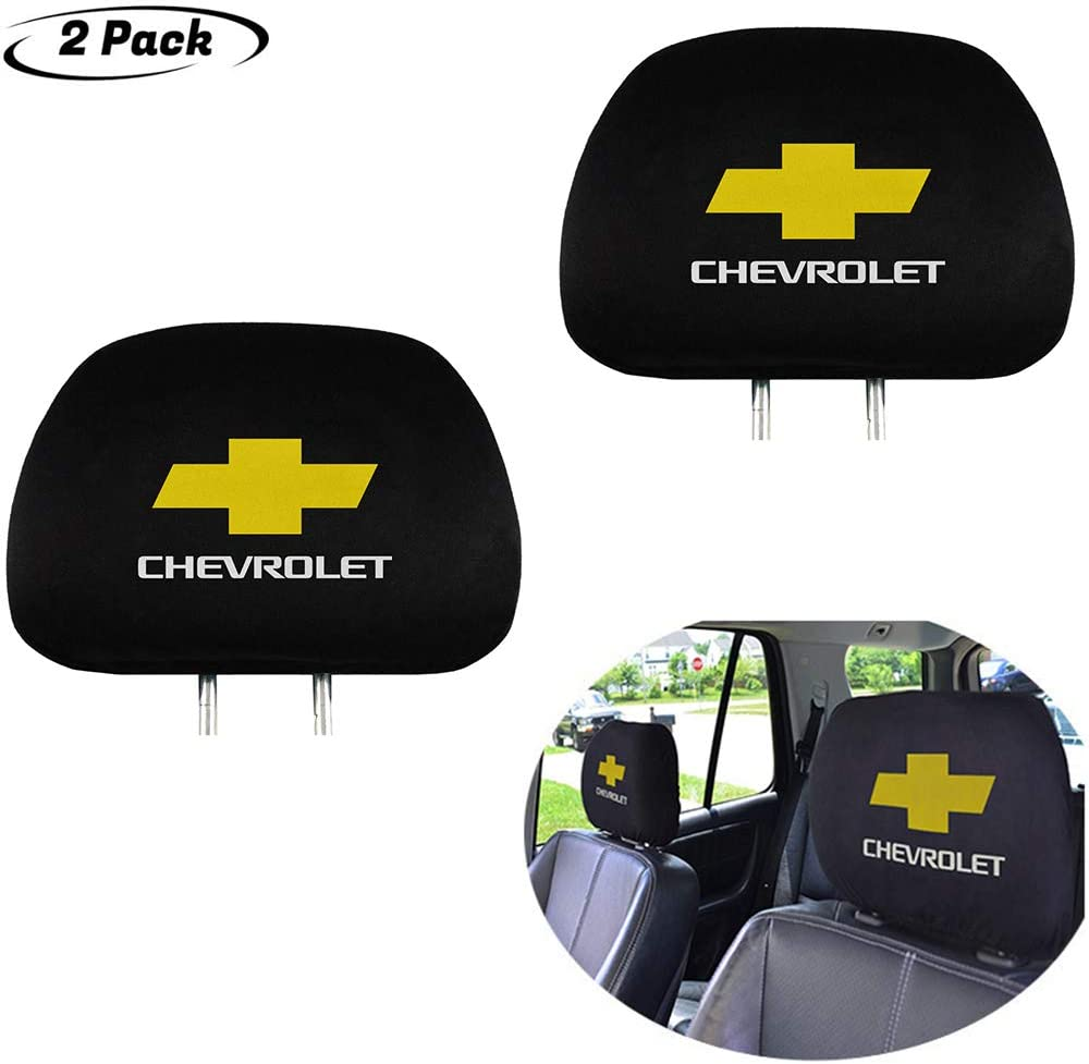 Headrest cover Set of 2 for Chevrolet, Black Gray Fabric Universal Scalable Set fits to Chevrolet Accessories