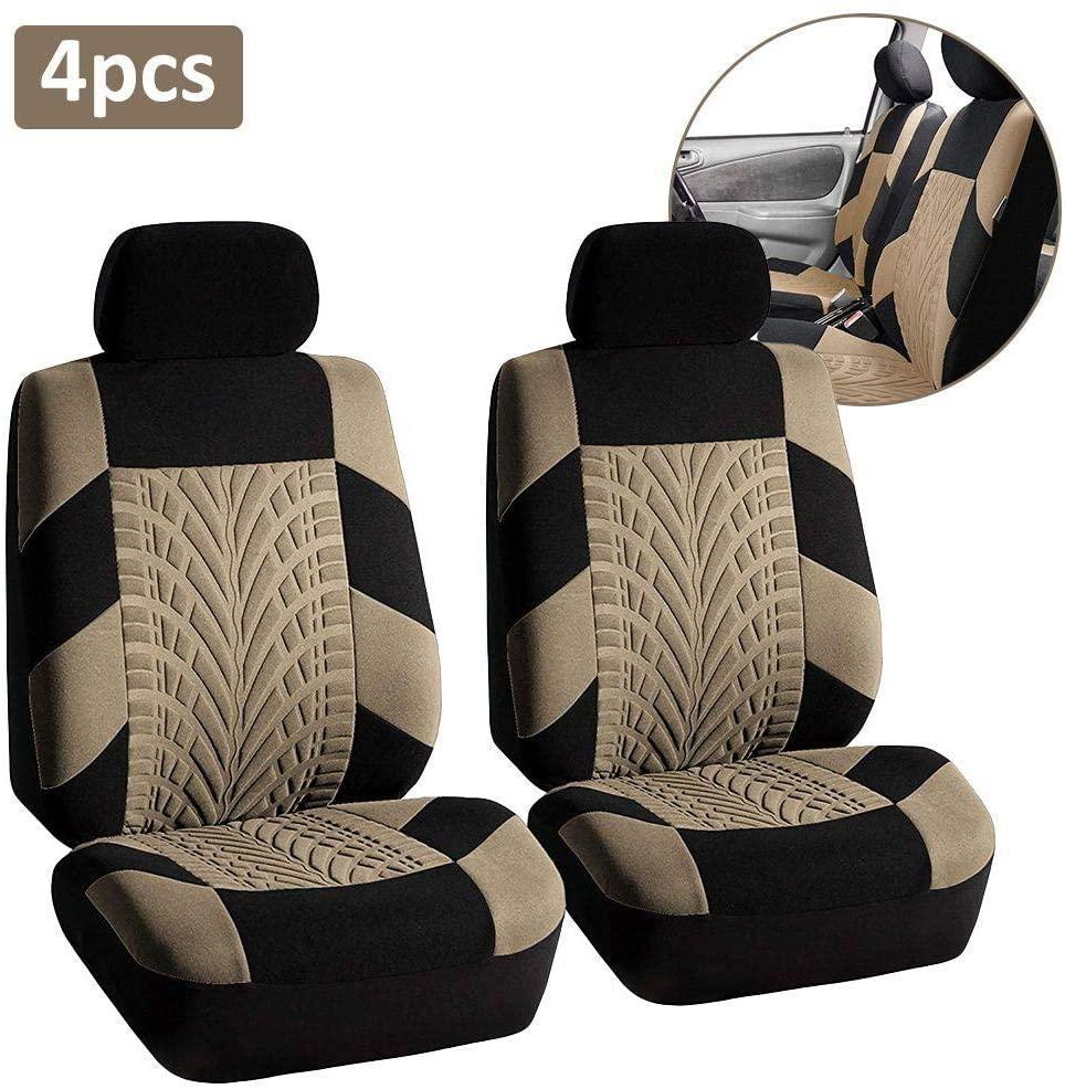 zqxsales 4/9 PCS Universal Car Seat Covers Full Set Car Seat Protectors Tire Tracks Car Seat Accessories, Black/Gray/Beige/Pink/Blue