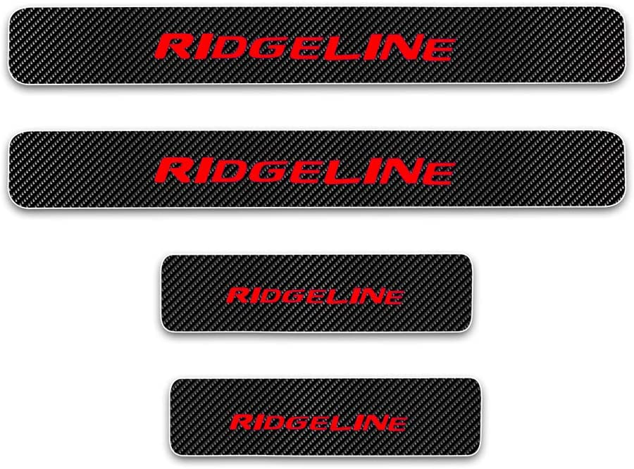 For Honda Ridgeline Door Sill Protector Reflective 4D Carbon Fiber Sticker Door Entry Guard Door Sill Scuff Plate Stickers Auto Accessories 4Pcs Red