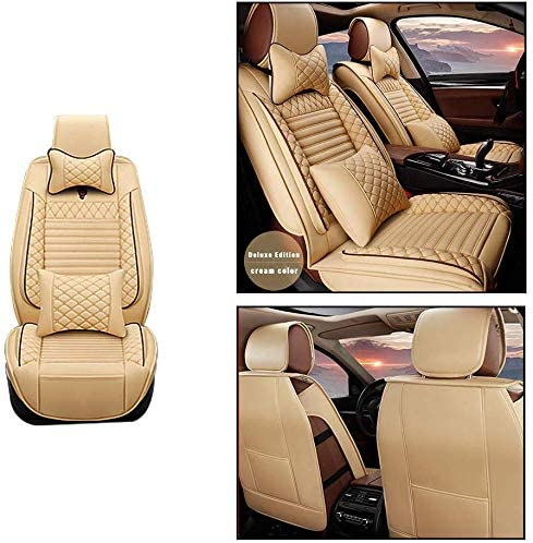 Maite Front Car Seat Covers for Toyota Tacoma PU Leather 2Pcs Car Seat Cushion-Compatible with Airbag (Beige)