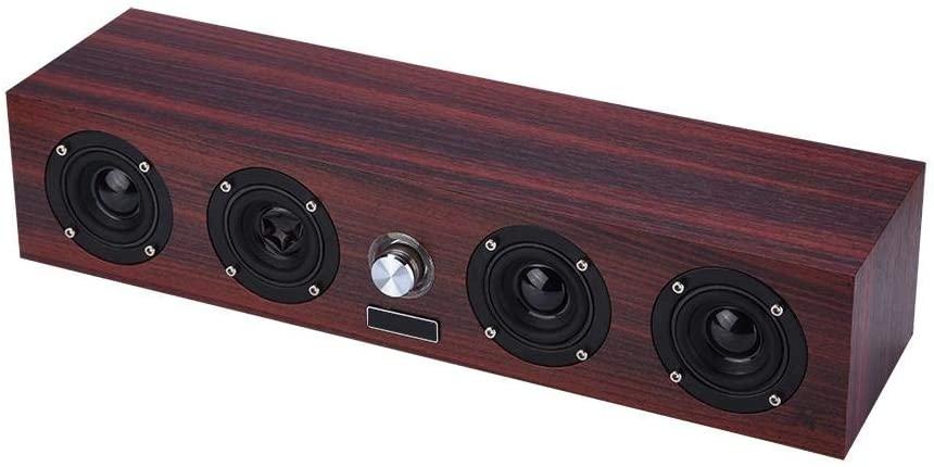 Dpofirs Surrounds Stereo Sound Wooden Speaker,3.5mm 3W 4 Loudspeakers Bass Speaker,Multi Media Stereo Player 50MM Speaker for Smart TV, Computer