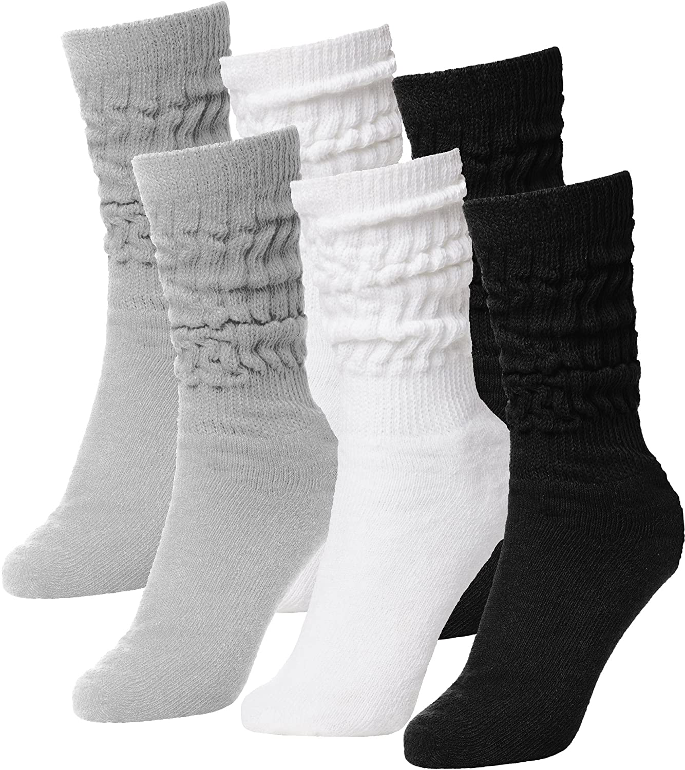 BRUBAKER Womens Or Mens Fitness Workout Gym Slouch Socks 6 Pack