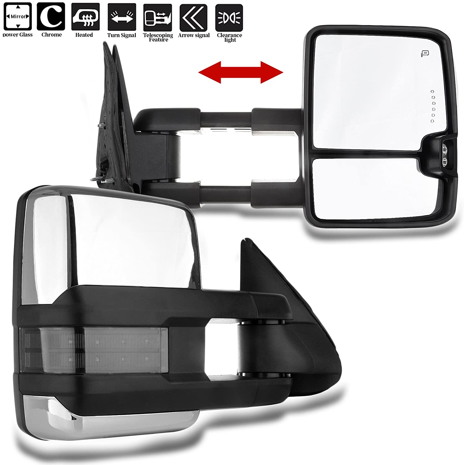 SCITOO Towing Mirrors fit 1999-2002 for Chevy Silverado Sierra 2000-2002 Tahoe Yukon Chrome Cover Power Heated Towing Mirrors LED Signal Light Pair Set Mirrors