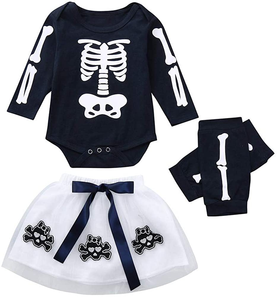 Goldweather Newborn Infant Baby Girls Clothes Halloween Skull Print Long Sleeve Bodysuit + Tutu Skirt + Leggings Outfit Set