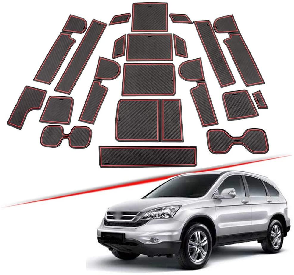 XITER For Honda CR-V CRV 2017 2018 2019 2020 Car Accessories Cushion Non-Slip Gate Slot Pad Cup Mat Car Interior Door Slot Pad Automotive Decoration 21pcs/Set (RED)