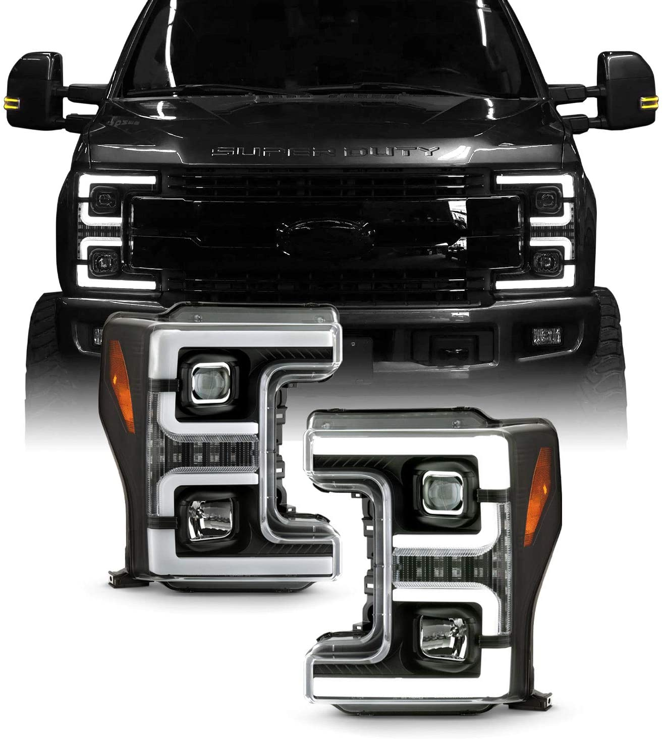 Fits 2017-2018 Ford F250 / F350 / F450 Superduty Halogen [Tube Bar] Projector Black Headlights w/Sequential LED Signal