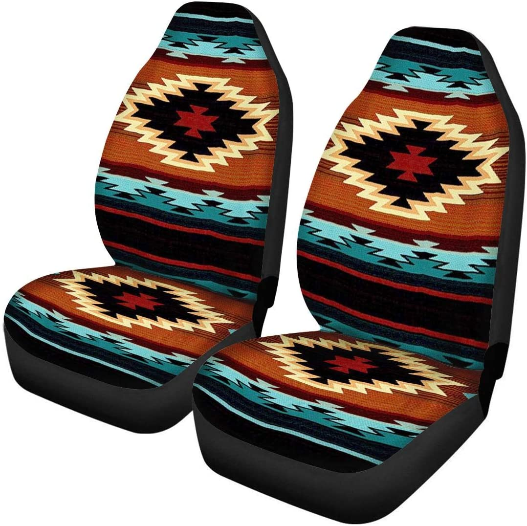 Salabomia 2 Piece Car Seat Covers (Airbag Compatible) Colorful Aztec Tribal Design Auto Leather Seat Piddle Protector Car Seats Protector for Car SUV & Truck