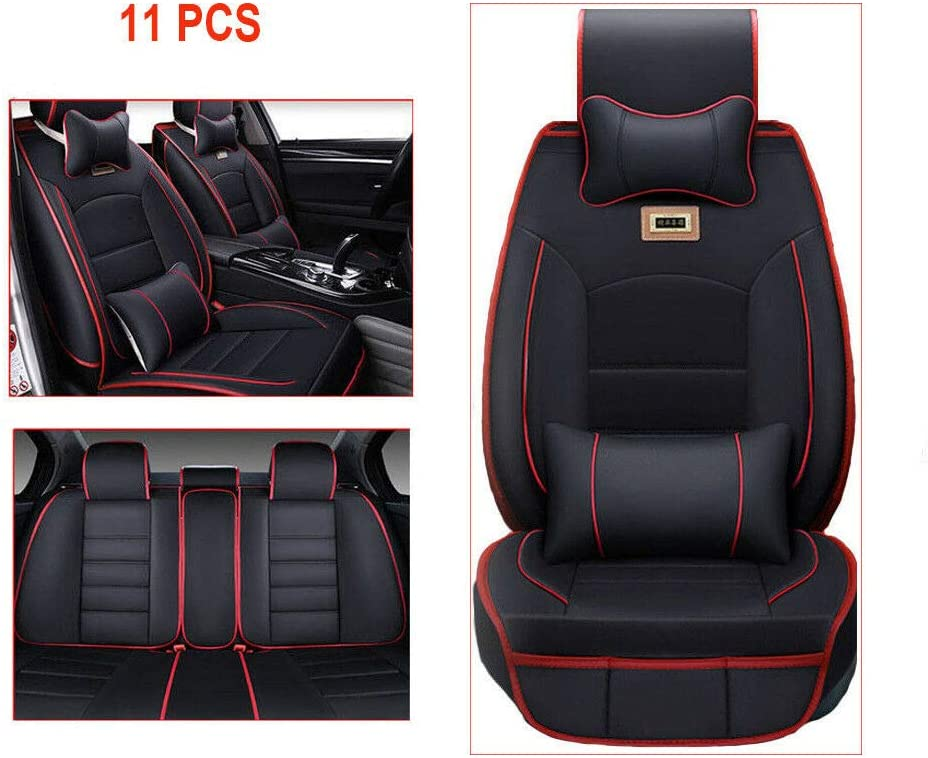 Car Seat Covers Full Set Waterproof PU Leather Seat Pad Car Protector Set Universal for Auto Truck Van SUV Sedan (Black with Red Trim)