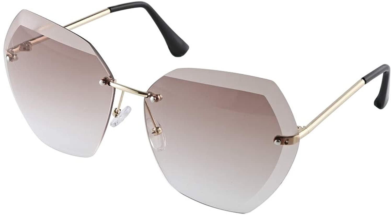 EXEcharge New Oversized Rimless Gradient Diamond Cutting Lens Sunglasses