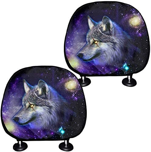 doginthehole 2 Pack Car Seat Headrest Cover Dustproof Covers Galaxy Animal Wolf Printed Universal Fit Car Accessories