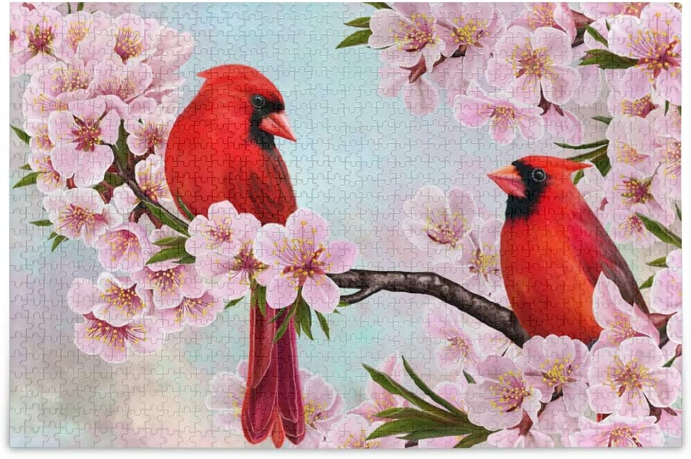 Jigsaw Puzzles 1000 Pieces for Adults Kids- Cardinal Bird Puzzle Difficult and Challenge Families Learning Educational Puzzles Toys with Mesh Storage Bag Cherry Blossoms 2010118
