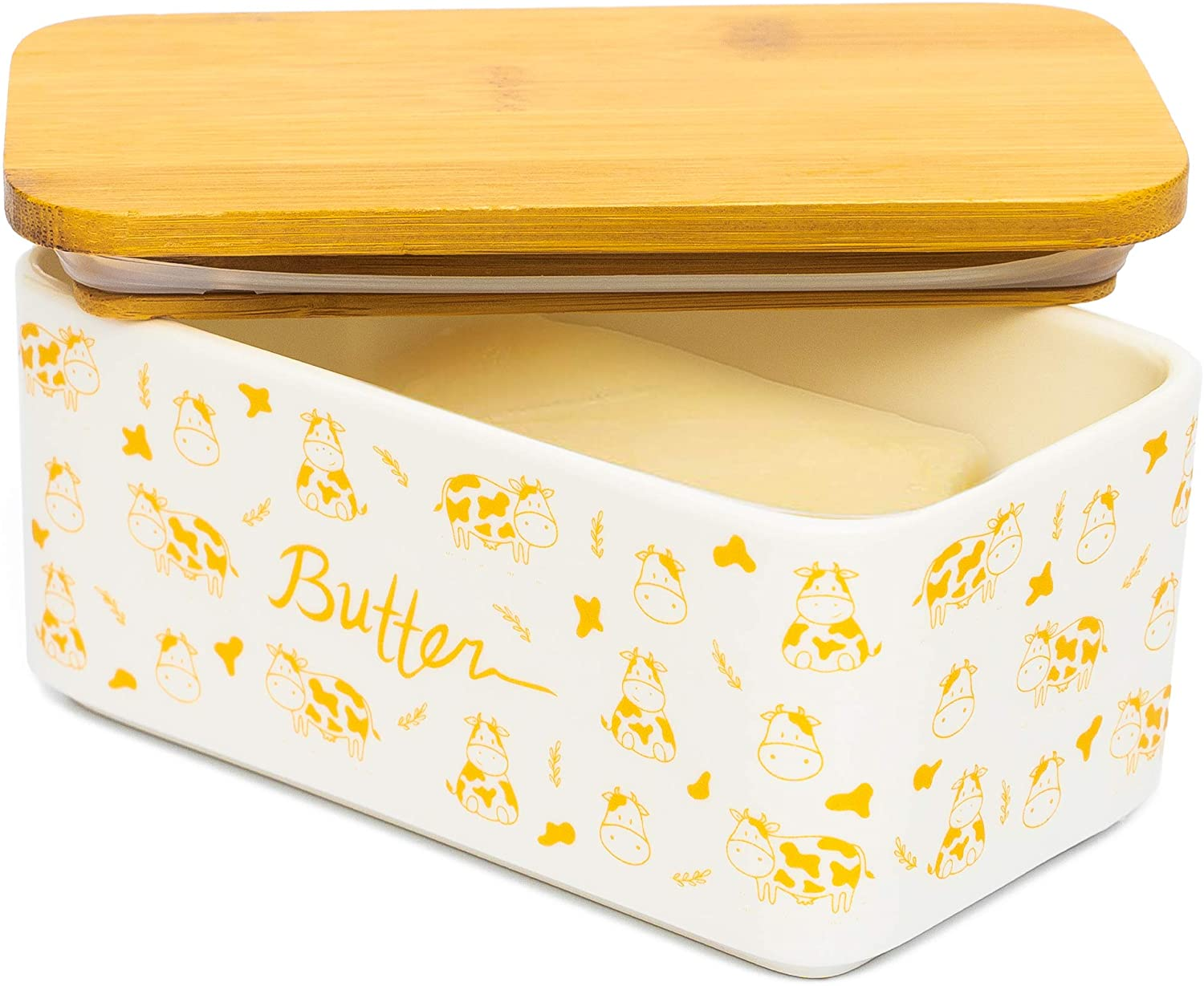 Lumicook porcelain butter dish with lid, Natural bamboo lid, seal included for airtight butter dish, butter holder easily fits 2 sticks of butter