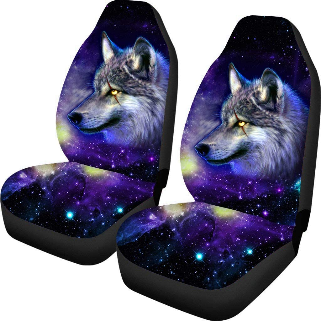 BIGCARJOB Universal Bucket Seat Cover Galaxy Wolf Print Trendy Seat Protect Covers 2pcs Set for Men Easy Install