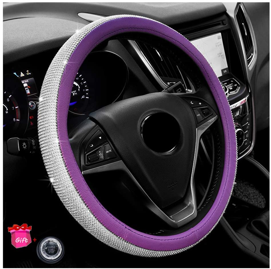 Younglingn Diamond Crystal Leather Auto Steering Wheel Cover - Bling Bling Rhinestones Car Wheel Protector Pop Among Women Girls Universal Fit 15 Inch