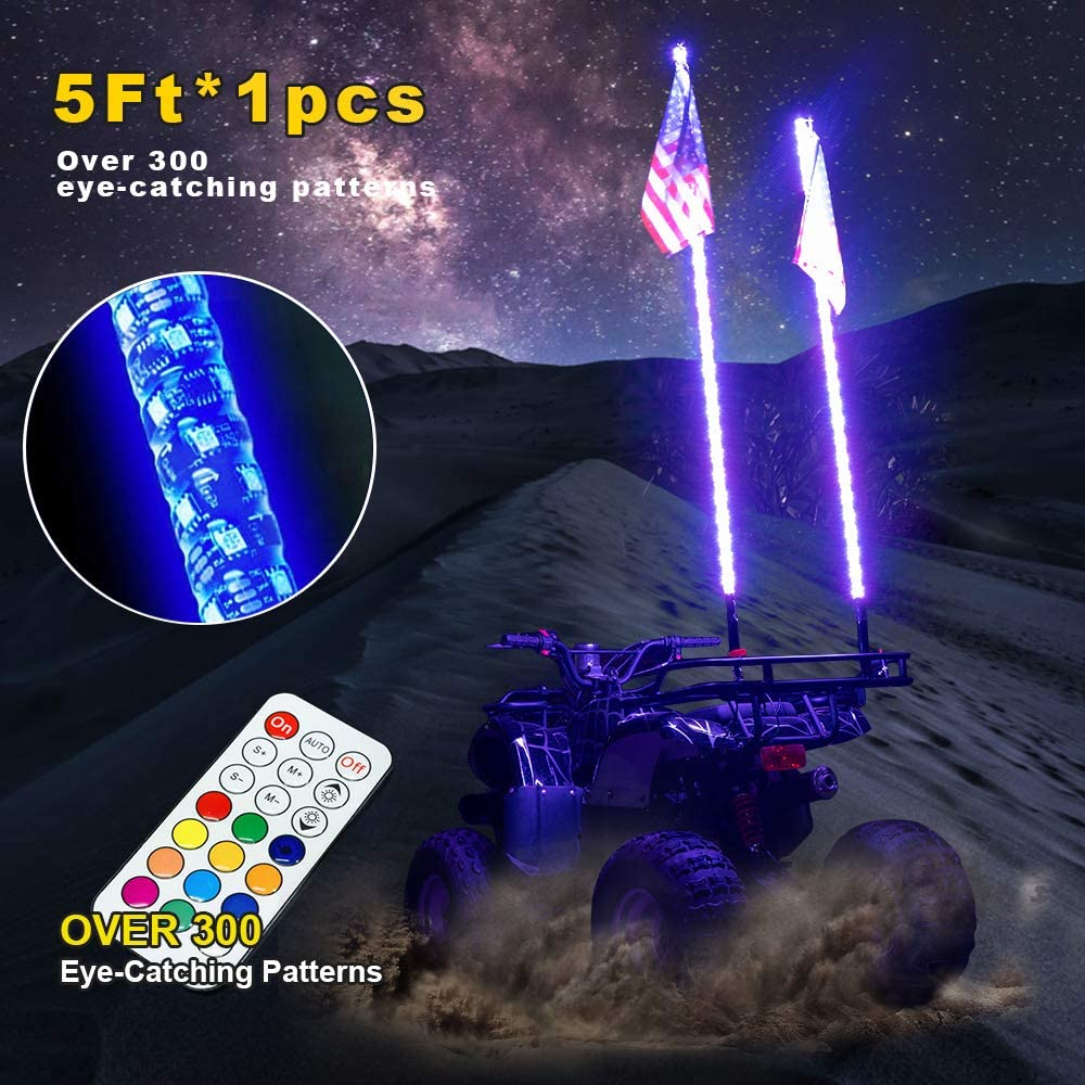 OMUOFFROAD 5FT LED Whip Lights 360° Twisted Antenna Dream Wrapped Dancing Whips for Polaris RZR ATV Antenna Whip UTV Quad Sand Dune Buggy Flag Poles for Trucks w/Remote Control (One Whip)