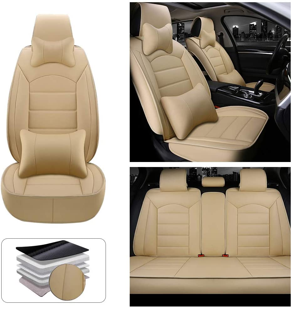 Fit for BMW 550 5-Seats Car Seat Cover Protector with Waterproof PU Leather Easy to Install - with Headrest and Lumbar Cushion (Beige)