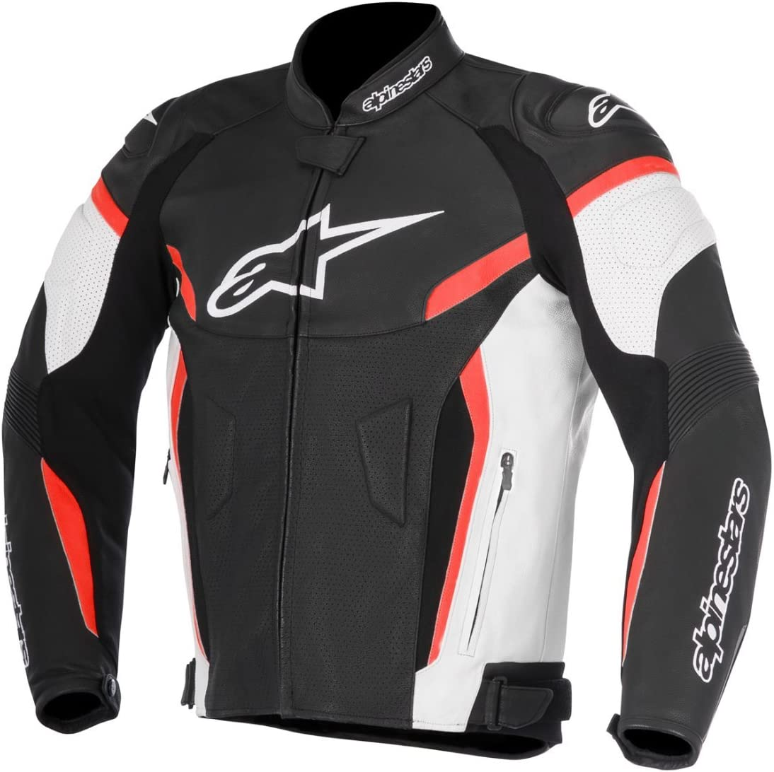 Alpinestars Men's GP Plus R V2 Airflow Leather Motorcycle Jacket, Black/White/Red, 58