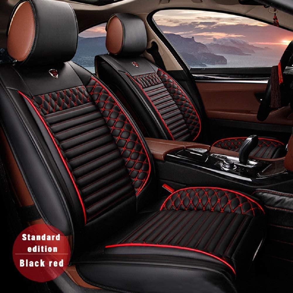 Custom Car Seat Cover for Nissan Dodge VW Toyota Ford Lexus Suzuki Mazda Kia Volvo Honda Hyundai Infiniti 5-Seat Car Seat Cushion Cover Full Set Needlework PU Leather Seat Pad Protector (Black & red)