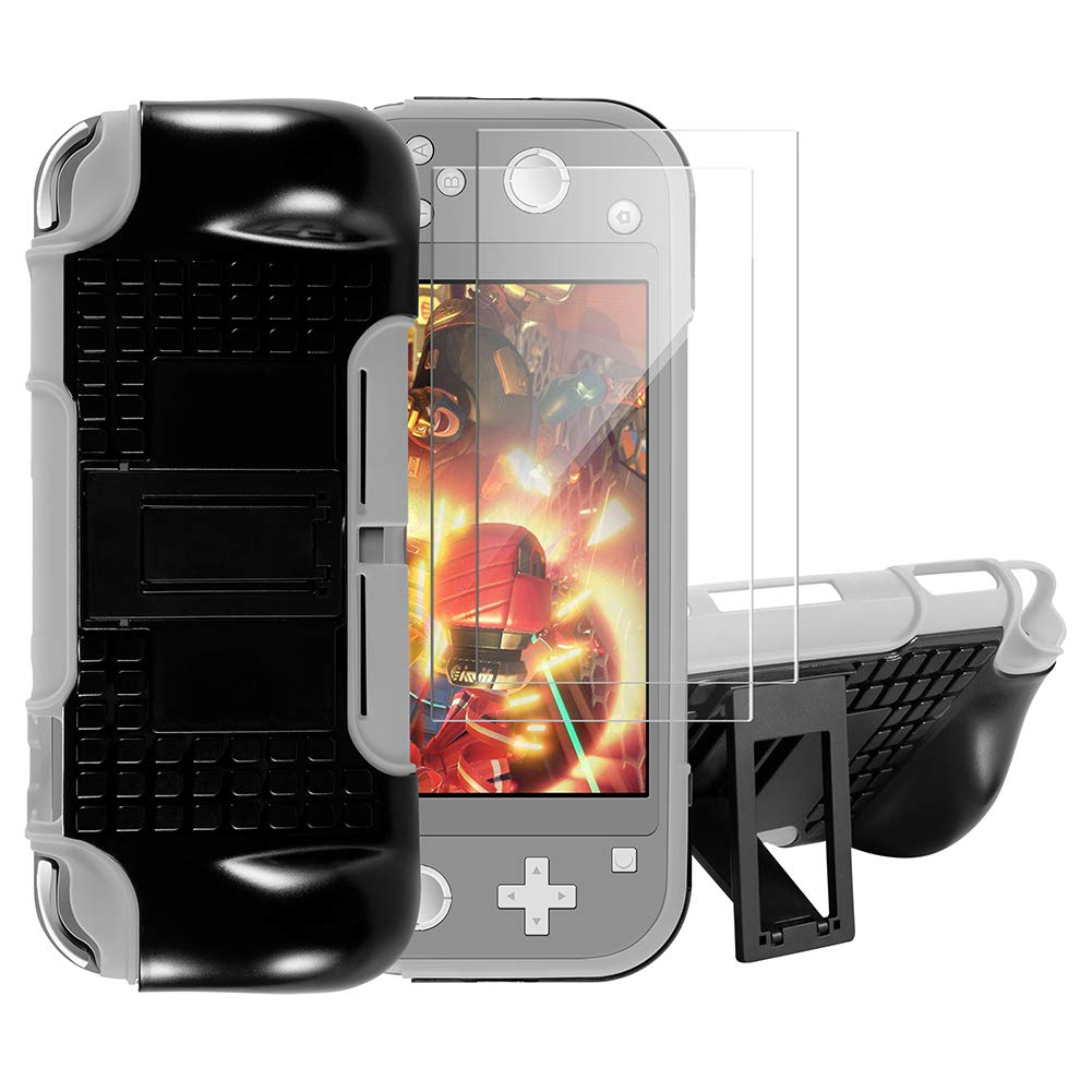 Case for Nintendo Switch Lite 2019, Shumeifang 2-in-1 TPU + PC Dual Layer Detachable Cover with Stand, Shockproof / Anti-Scratch Case for Nintendo Switch Lite, with 2 Screen Protector - Gray