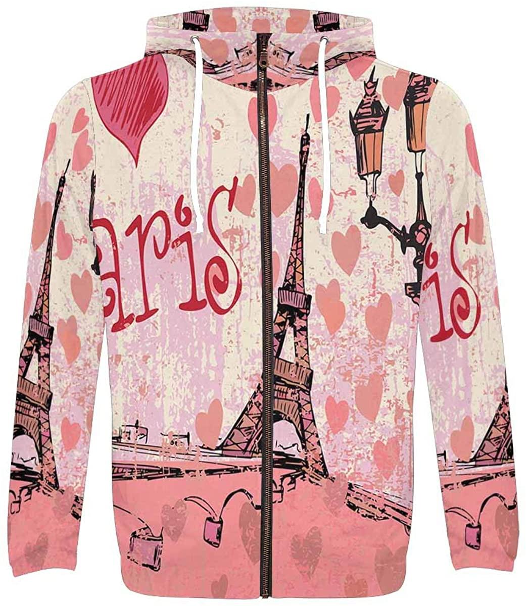 InterestPrint Men's Front Pocket Pullover Full Zip Hoodie Love Paris Eiffel Tower