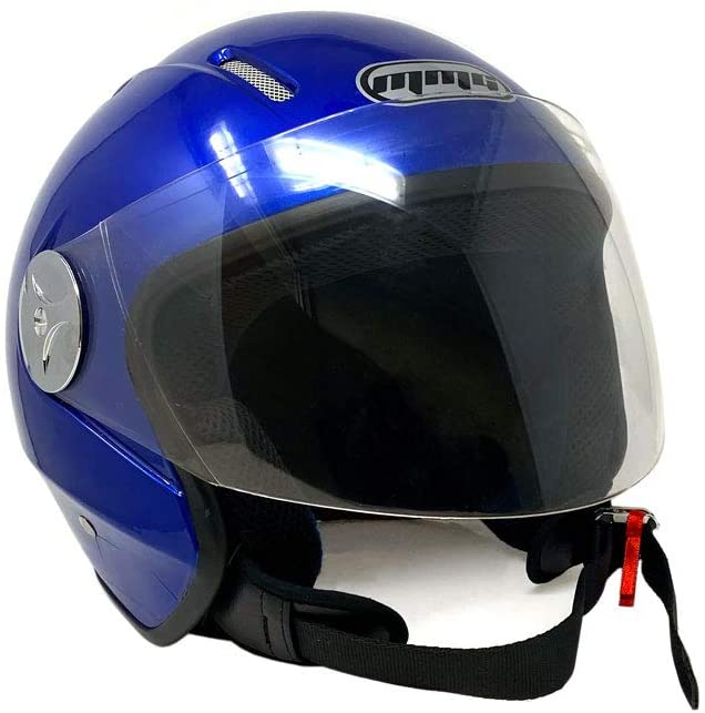 Motorcycle Scooter Open Face Helmet Pilot Flip Up Visor DOT - Blue Medium