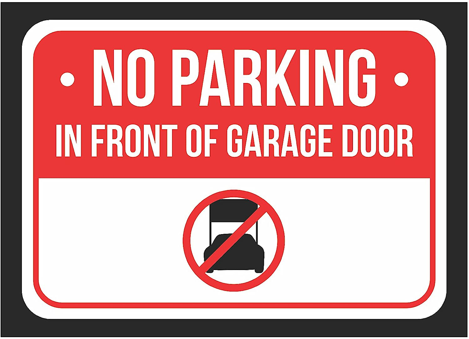No Parking in Front of Garage Door Print Red Notice Parking Plastic Small Sign - 2 Pack of Signs, 7.5x10.5 Inch