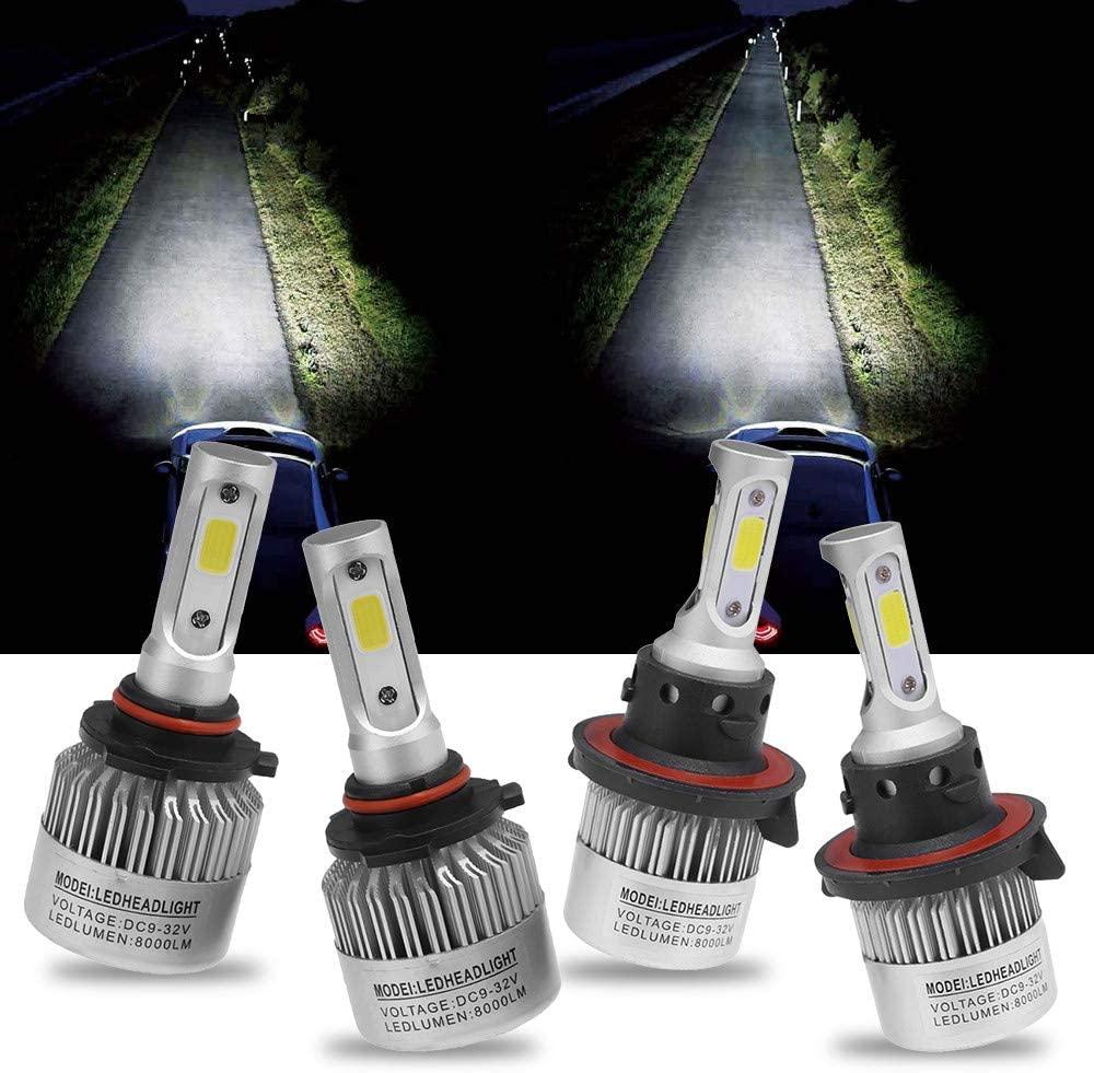 H13 9008 LED Headlight Bulbs Hi Low Beam Conversion Kit+9145 9140 H10 Fog Lights Daytime Running Lights 6000K Super White for 2005-2016 Ford F250 F350
