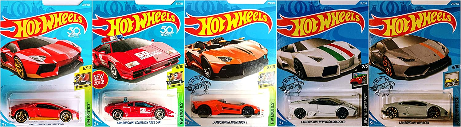 Hot Wheels Lamborghini 5 Car Set Bundle Includes Huracan Reventon Aventador J Countach Avendator Miura Homage Version 3