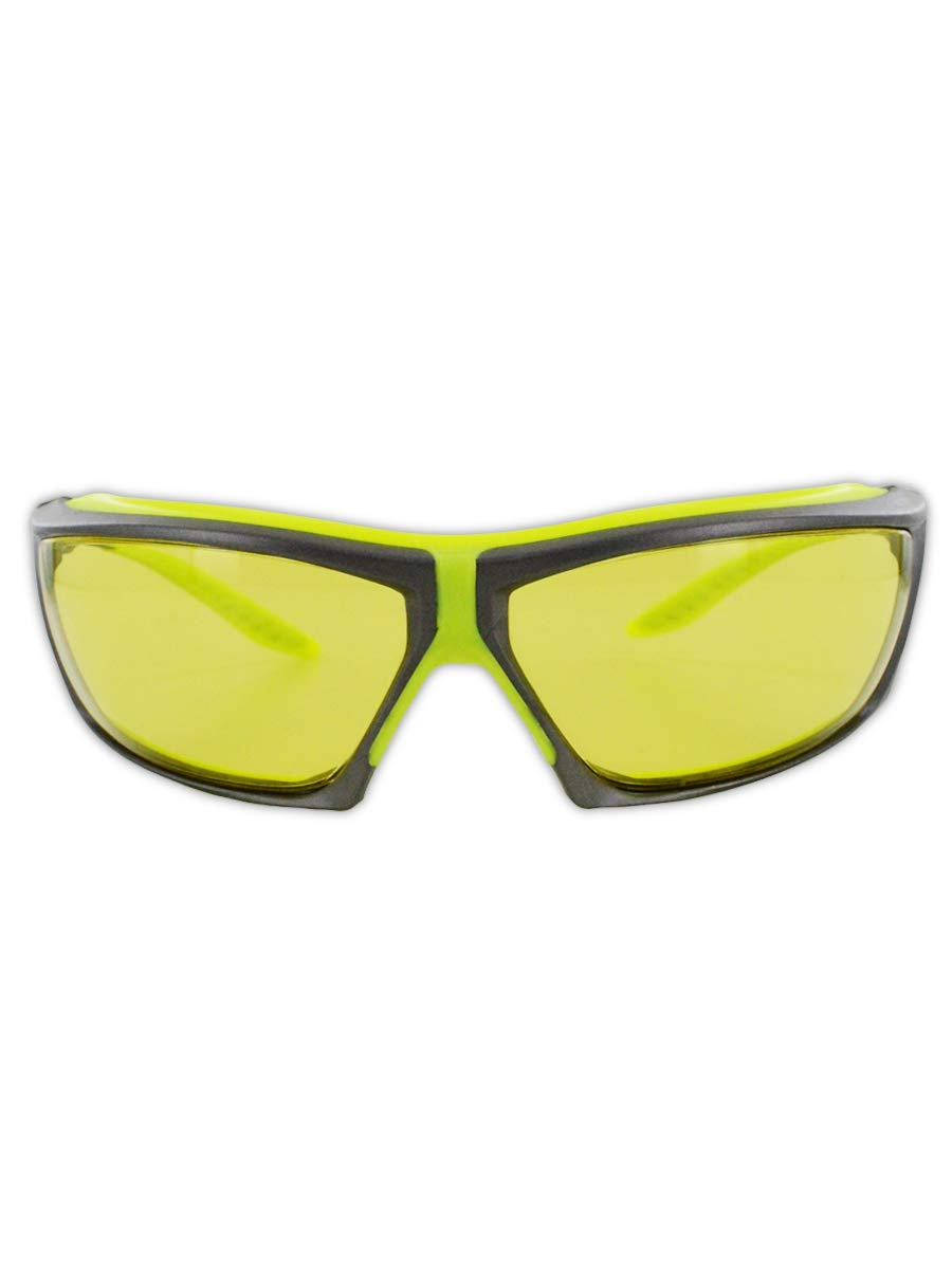 Magid Glove & Safety ANSI Z87 Impact Resistant Anti-Fog Safety Glasses with Ratcheting Temple System & TPR Cushion, UV Resistant, Scratch Resistant (24 Pair), Hi-Viz Yellow/Grey Frame