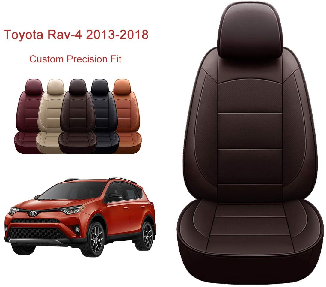 OASIS AUTO 2013-2018 Rav-4 Custom Fit PU Leather Seat Cover Compatible with 2013-2014-2015-2016-2017-2018 Rav4 Non-Hybrid (Rav4 2013-2018, Brown)