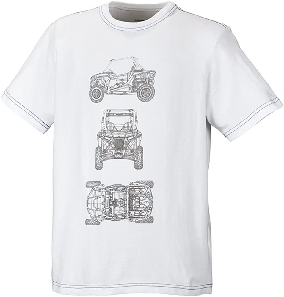 polaris Youth Boys White CAD RZR Short Sleeve T-Shirt Small Classic Cotton Tee