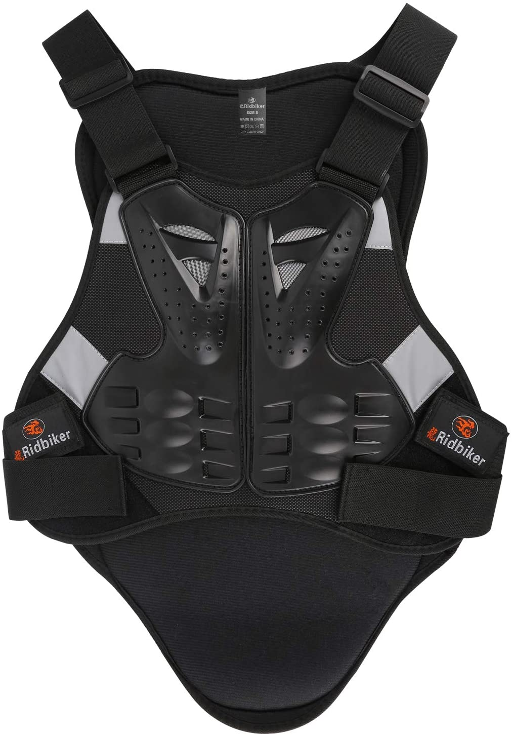 Ridbiker Motorcycle Armor Vest Chest Back Spine Protector Touring Motocross Off-Road Racing Cycling Body Guard,Black,L