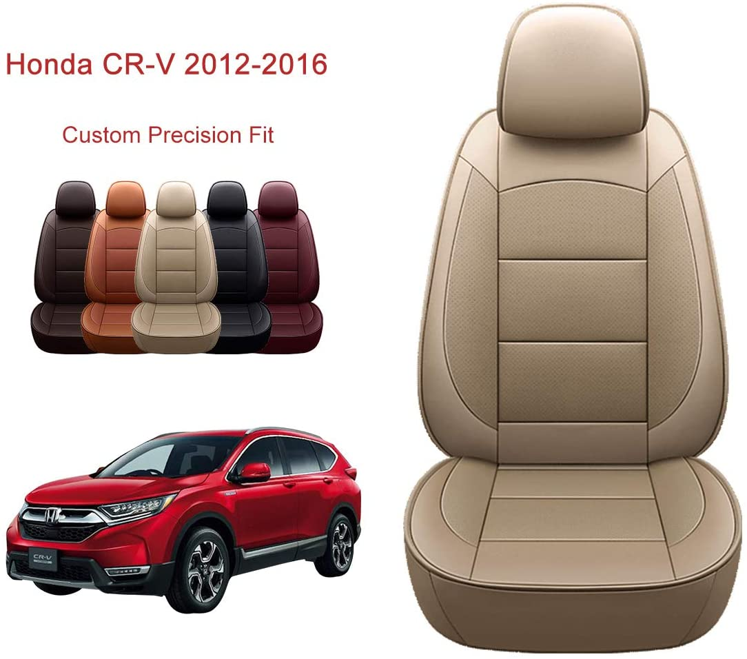 OASIS AUTO 2012-2016 CRV Custom Fit PU Leather Seat Cover Compatible with 2012-2013-2014-2015-2016 Honda CR-V (2012-2016 CRV, TAN)
