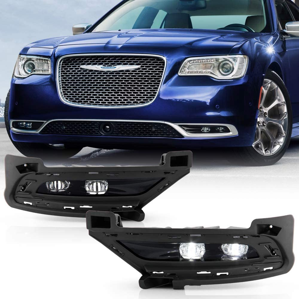 ACANII - For 2015-2020 Chrysler 300 LED Bumper Fog Lights Driving Lamps Assembly w/Switch Pair Set Driver & Passenger