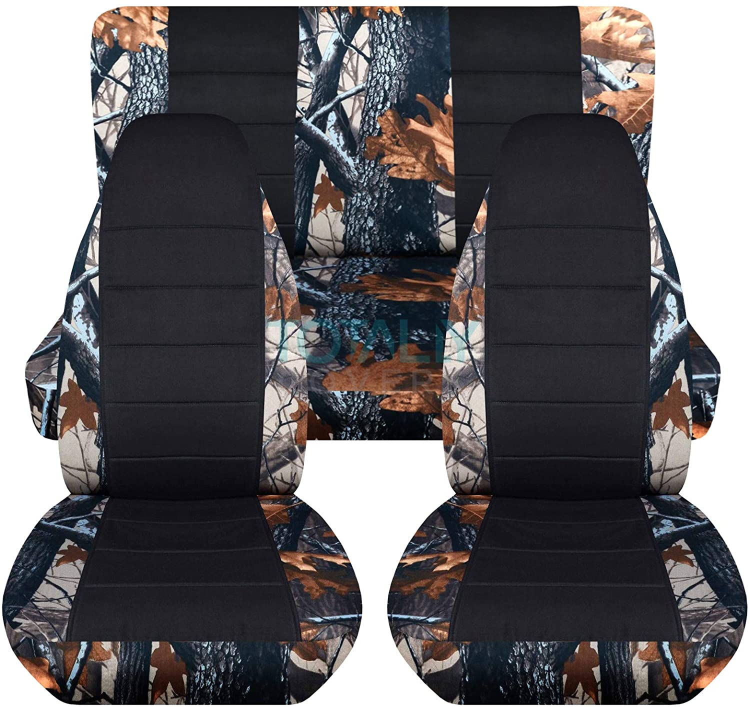 Totally Covers Camouflage & Black Car Seat Covers: Gray Tree Camo - Semi-Custom Fit - Full Set - Will Make Fit Any Car/Truck/Van/RV/SUV (22 Prints)