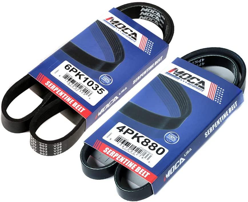 MOCA 6PK1035 4PK880 OEM Quality Serpentine Belt Professional V-Ribbed Fits 98-03 for LEXUS ES300 3.0L & 99-03 for LEXUS RX300 3.0L & 95-05 for TOYOTA Avalon 3.5L & 98-03 for TOYOTA Sienna 3.0L V6