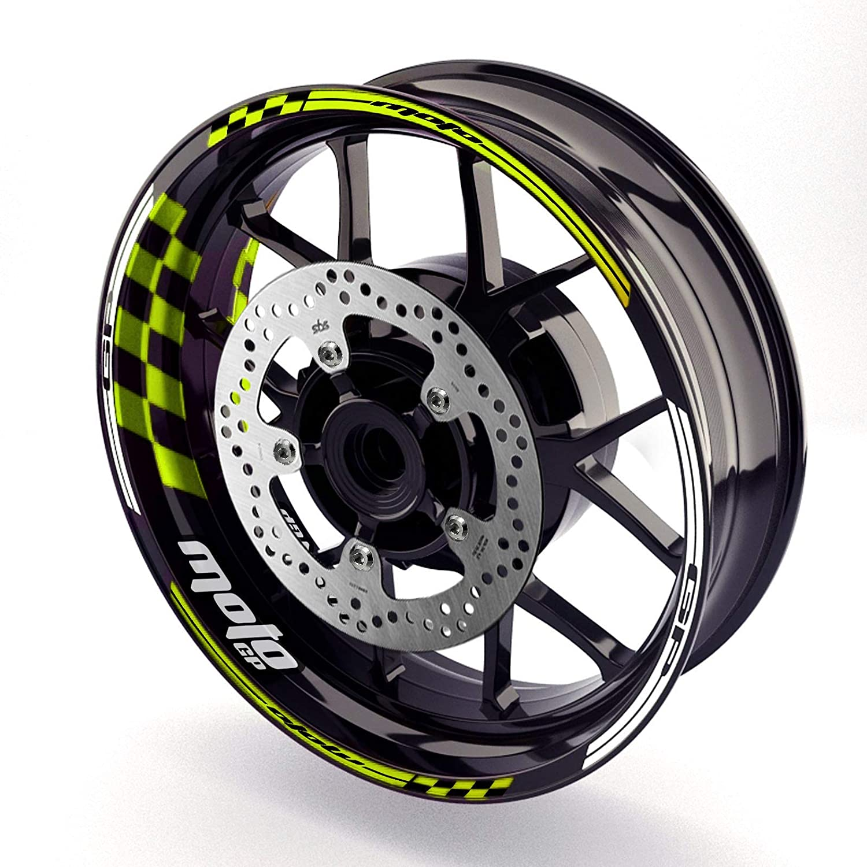 MC Motoparts Rim Stripes Wheel Decal Stickers 17 inch Rim Edge Inner Tape GP01 For KTM Kawasaki Yamaha (Light Green)