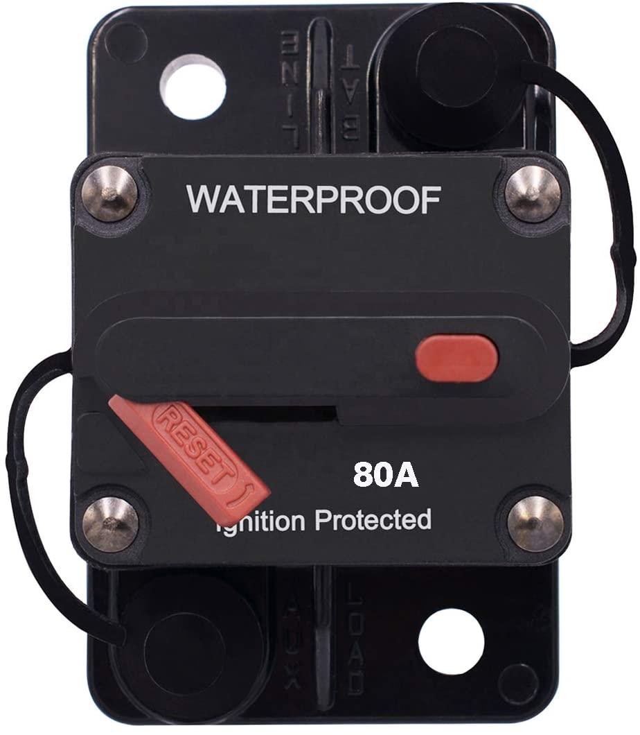 ZET 80A Circuit Breaker with Manual Reset Waterproof 80 Amp Circuit Breaker 12V for Car Audio Boat ATV Marine RV Yacht, 12V - 42V DC