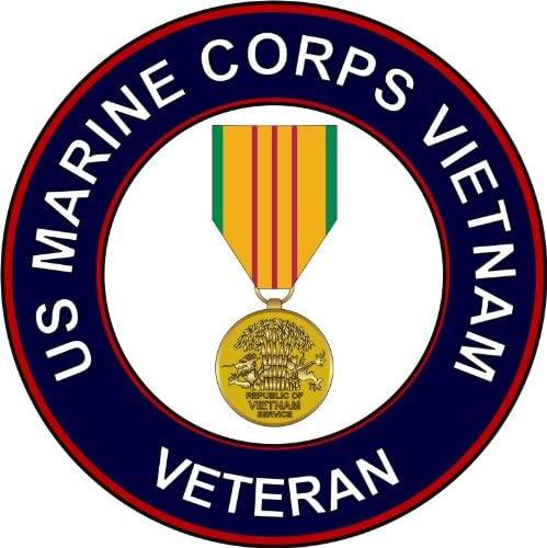 Military Vet Shop U.S. Marine Corps Vietnam Veteran Medal Window Bumper Sticker Decal 3.8