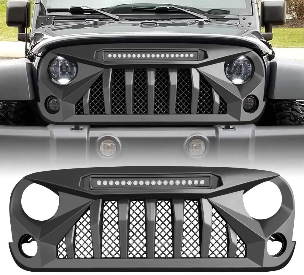 AMERICAN MODIFIED Matte Black Front Gladiator Vader Grill for 2007-2018 Jeep Wrangler JK/JKU Rubicon Sahara Sport (w/LED Off-Road Lights)